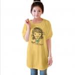เสื้อยืดแฟชั่นตัวยาว /แซกสั้น แขนบอลลูน ทรงเก๋ ผ้านุ่ม ลาย Cute Girl สีเหลือง