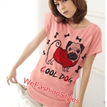 เสื้อยืดแฟชั่น ผ้านุ่ม ลาย Cool Dog (Size M:36 นิ้ว) สีโอรส
