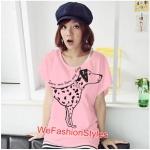 เสื้อยืดแฟชั่น ผ้านุ่ม ลาย Love Me (Size M:32-36 นิ้ว) สีชมพูอ่อน