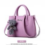 พร้อมส่ง กระเป๋าถือและสะพายข้างใบเล็ก ผู้หญิง แฟชั่นสไตล์เกาหลี รหัส KO-699 สีมวง 1 ใบ *แถมตุ๊กตาหมี