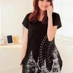 เสื้อยืดแฟชั่นตัวยาว (ผ้าเนื้อนุ่ม) ลาย จิงโจ้ สีดำ