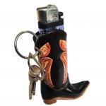พวงกุญแจ รองเท้าบูท + ที่ใส่ไฟเช็ค สีดำ