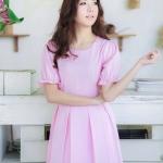เสื้อผ้าแฟชั่น สุด Chic เดรสแขนตุ๊กตา น่ารัก สไตล์คุณหนู รหัส RN21_2 สีม่วงอมชมพู