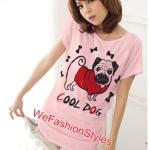 เสื้อยืดแฟชั่น ผ้านุ่ม ลาย Cool Dog (Size M:36 นิ้ว) สีชมพูอ่อน