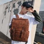 Pre-order กระเป๋าเป้สะพายหลัง ผู้ชายกันน้ำได้ แฟชั่นเกาหลี หนัง PU รหัส Man-6536 สีน้ำตาล