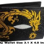 กระเป๋าสตางค์ปลากระเบน ลายมังกรเหลืองสุดผยองLine id : 0853457150