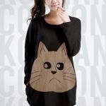 เสื้อยืดแฟชั่นตัวยาว ลายแมว แขนยาว สีดำ (สำหรับสาวตัวใหญ่ หรือสาวๆ ที่ชอบเสื้อตัวโคร่ง)