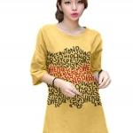 เสื้อยืดแฟชั่นแขนสามส่วน / แซกสั้น ผ้านุ่ม ลาย Colorful Alphabet สีเหลือง