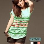 เสื้อยืดแฟชั่น Extreme Serie ลายลวดหนาม สีเขียวมินท์ (Size M)