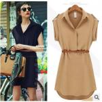 [พร้อมส่ง]สไตล์ยุโรป 2014 แฟร์ชั่นฤดูร้อนใหม่เสื้อผู้หญิงขนาดใหญ่ในชุดชีฟองยุโรปและอเมริกา แขนสั้นพร้อมเข็มขัด