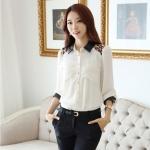 เสื้อทำงาน เสื้อแฟชั่น เสื้อเกาหลี เสื้อแขนยาว ปกและปลายแขนเป็นหนัง ไหล่ลายเสื้อ กระเป๋าหน้า กระดุมหน้า เสื้อสีขาว (พร้อมส่ง)