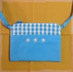 กระเป๋าสะพาย ติดซิป สี่เหลี่ยมแนวนอน สีฟ้า