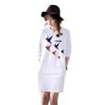เสื้อยืดตัวยาว /แซกสั้น ผ้านุ่ม แขนยาว ลาย Freedom (สีขาว)