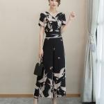 แฟชั่นเกาหลี set เสื้อและกางเกงขายาวลายนกน่ารักมากๆ เสื้อผ้าชีฟองชนิดหนา สีดำ พิมพ์ลายนก