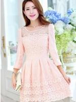 แฟชั่นเกาหลี ชุดเดรสผ้าไหมแก้ว organza สีชมพูโอรส ปักด้วยด้ายลายดอกไม้ สวยมากๆ