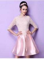 ชุดเดรสสุดหรู ตัวเสื้อผ้าถักลายดอกไม้ สีชมพู แขนยาวสี่ส่วน