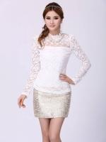 เสื้อผ้าลูกไม้ Brand XIAN ZI เสื้อผ้าทำงานเกาหลี เนื้อนุ่ม ยืดหยุ่นได้ดี สีขาว แขนยาว มีซับใน มาพร้อมสร้อยคอมุกเหมือนแบบ สวยมากๆครับ (พร้อมส่ง)