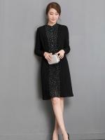 เดรสสีดำ ชุดสีดำ ตัวเสื้อด้านหน้าผ้าชีฟองเนื้อดีสีดำ ลายจุดเล็กๆ สีขาว