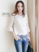 เสื้อผ้าถักลายดอกไม้ สีขาว แฟชั่นเกาหลี แขนยาวสี่ส่วน ปลายแขนเสื้อระบายด้วยผ้าชีฟอง
