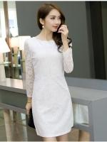 เดรสสีขาว ชุดสีขาว เดรสผ้าลูกไม้ถักสีขาว ยืดหยุ่นได้ แขนยาว