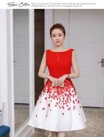 ชุดเดรสเกาหลี ผ้าโพลีเอสเตอร์สีแดง แขนกุด ช่วงเอว คาดด้วยผ้าริบบิ้นสีแดง