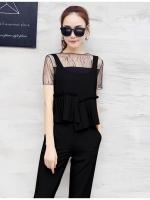 เสื้อผ้าแฟชั่นเกาหลี set 3 ชิ้น เสื้อตัวใน เสื้อตัวนอก และกางเกงสีดำ