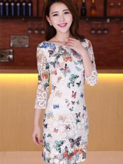 ชุดเดรส ชุดแซกเกาหลี Brand Clothing Beauty เดรสผ้าลูกไม้หนา สีขาว ลายผีเสื้อ มีซิบด้านข้างลำตัว และซิบที่คอเสื้อด้านหลัง แขนสามส่วน สวยมากๆครับ (พร้อมส่ง)