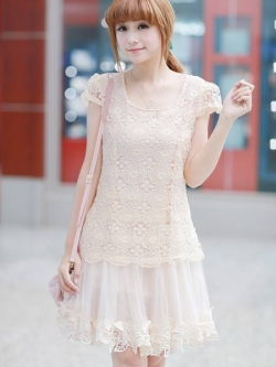 ชุดเดรสเกาหลี Brand Ai Fei ชุดเดรสสั้น ตัวชุดผ้าถักโครเชต์สีครีม ซับในด้วยผ้าไหม กระโปรงผ้าโปร่ง ชายกระโปรง แต่งลายดอกไม้ ใส่ออกงานสวยมากๆครับ (พร้อมส่ง)
