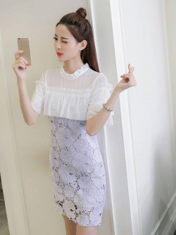 ชุดเดรสสั้น ตัวชุดผ้าถักรูปดอกไม้สีม่วงอ่อน สีพาสเทลสวยมากๆ