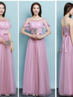 ชุดราตรียาว สีชมพู ตัวเดรสเป็นเกาะอก ตัวเสื้อผ้าลูกไม้สีชมพูเข้ม ด้านหลังลำตัวตัวเป็นสม๊อก ยืดหยุ่นได้ดีมาก