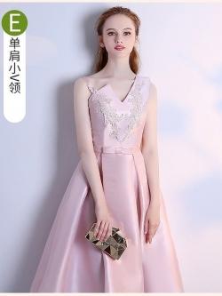 ชุดราตรีสั้นสุดหรู ผ้าไหมเนื้อดีเงาสวย สีชมพู ดีไซน์สวย สายเดี่ยวข้างนึง อีกข้างนึงเป็นแขนกุด