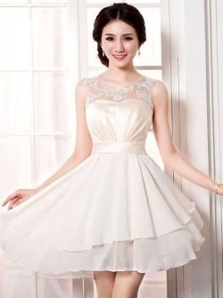 Pre-Order ชุดราตรีสั้น ชุดเพื่อนเจ้าสาว สีแชมเปญ เข้ารูป แขนกุด ผ้าซาติน+ซีฟอง อย่างดี ตกแต่งตาข่าย เหมาะใส่เป็นชุดไปงานแต่งงานมากๆ