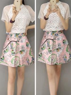 แฟชั่นเกาหลี set เสื้อและกระโปรงสวยมากๆ