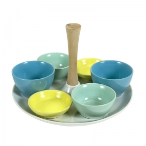 Sale 50%!! Stoneware Tray w/ Wood Handle & 6 Dishes, Set of 7
