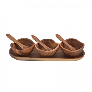 Acacia Wood Condiment Set, Set of 7, Imported