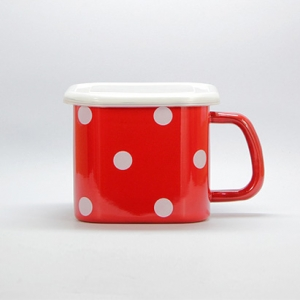 Enamel square box (Red with White dots)