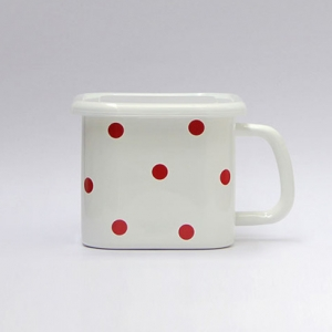 Enamel square box (White with Red dots)