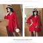 ชุดเดรสสีแดง ผ้าโพลีเอสเตอร์ผสม แขนยาว ดีไซน์เก๋ที่ปลายแขนเสื้อ thumbnail 6