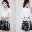 ชุดเดรสเกาหลีออกงาน ตัวเสื้อผ้าถักสีขาว แขนยาว กระโปรงผ้าชีฟองสีดำ พร้อมสร้อยคอ thumbnail 7