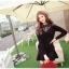 เสื้อไหมพรม ขนฟู สีดำ แขนยาว แฟชั่นเกาหลี คอเสื้อและไหล่แต่งด้วยผ้าลูกไม้ลายดอกไม้ thumbnail 1