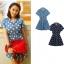 CHERRY DRESS ชุดเดรสแฟชั่นผ้ายีนส์ ลายจุดสีขาว คอปก แขนสั้น สีฟ้า กระดุมหน้าสีแดง จั๊มเอว ใส่ทำงาน ใส่เที่ยว วัยทีน น่ารัก thaishoponline (พร้อมส่ง) thumbnail 1