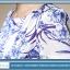 ชุดเดรสผ้าไหม silk เนื้อนุ่มลื่น พื้นสีขาว พิมพ์ลายดอกไม้สีน้ำเงิน thumbnail 7