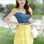 ชุดเดรสสวยๆ เดรสตัวเสื้อผ้ายีนส์ อกและไหล่ผ้าลูกไม้แบบนิ่มสีเหลือง ยืดหยุ่นได้ดี กระโปรงผ้าไหมแก้วสีเหลือง thumbnail 1