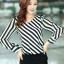 เสื้อทำงาน เสื้อแฟชั่นเกาหลี เสื้อเกาหลี เสื้อแขนยาว ผ้าชีฟอง ลายเฉียงสีขาวสลับดำ คอวี สวยมากๆ (พร้อมส่ง) thumbnail 1