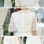 ชุดเดรสลูกไม้ ผ้าถักลายดอกไม้เล็กๆ สีขาว คอเสื้อทรงไหล่ป้านสูง thumbnail 7