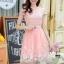 ชุดเดรสออกงานเกาหลี Brand เกาหลี เดรสตัวเสื้อผ้าถักลายดอกไม้ สีชมพูโอรส คอเสื้อประดับมุก กระโปรงผ้าโปร่งปักดิ้นลายดอกไม้ thumbnail 1