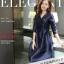 ชุดเดรสผ้าไหม silk เนื้อดี สีน้ำเงิน แขนยาวสี่ส่วน คอวี กระโปรงทรงเอ thumbnail 1