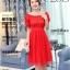 ชุดเดรสสั้น แฟชั่นเกาหลี ผ้าซาติน สีแดง thumbnail 1