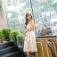 ชุดเดรสเกาหลี ผ้าซาตินเนื้อนิ่ม เงาสวย แขนกุด พื้นสีขาว พิมพ์ลายดอกไม้โทนสีขาว เดรสเข้ารูปช่วงเอว thumbnail 13