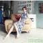 แมกซี่เดรสยาว ผ้าชีฟอง แขนกุด คอติด จั๊มช่วงเอว พิมพ์ลายตารางสีน้ำเงิน thumbnail 8